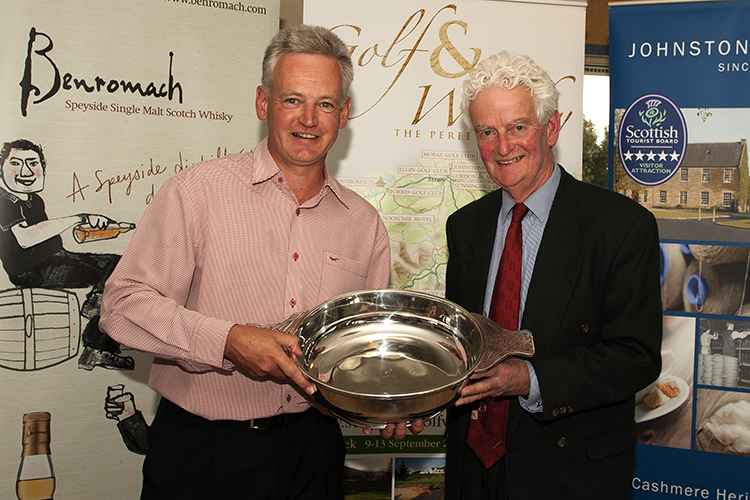 Ian Kerr left winner of Scotlands Golf Whisky Trail Golf Week 2013 pictured with James Macpherson Chairman of Scotlands Golf Whisky Trail